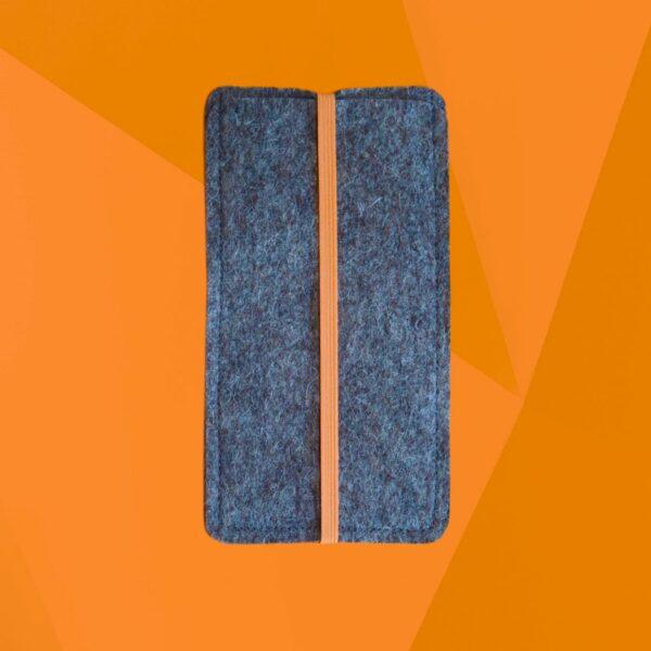 Handytasche mit orangefarbenem Gummiband