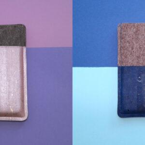 Handytaschen aus Filz und Kork rosa und blau