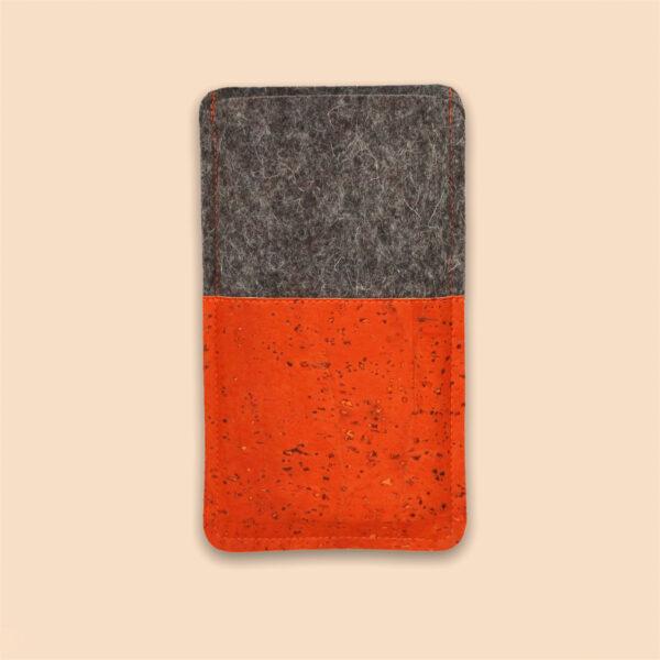Handyhülle Filz Kork orange