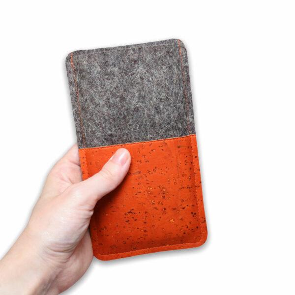 handmade Handytasche orange Filz Kork